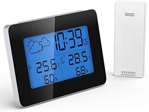 GlobaLink Estación Meteorológica Inalámbrica con Sensor para Exterior Interior Termómetro Higrómetro Digital Termohigrómetro Profesional de Temperatura Humedad con Despertador para Habitación Ambiente