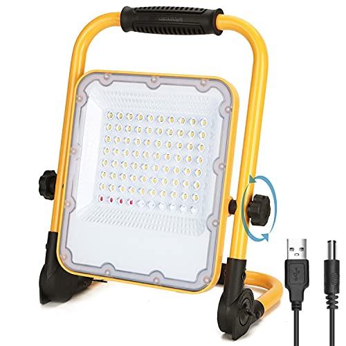 Aigostar Foco LED Bateria 50W,Foco LED Recargable Portátil ,Luz de Trabajo,Impermeable IP65,Función SOS,Uso para Interior y exterior:Garaje,Camping,reparación de coches,obra,emergencias