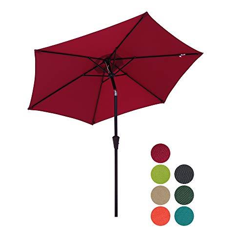 Patiorama 7.5 Feet Outdoor Patio Umbrella Outdoor Market Umbrella with Crank, 6 Ribs, Polyester Canopy, Burgundy