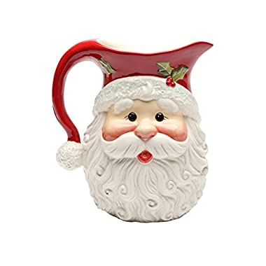 Cosmos Gifts 10636 Santa Ceramic Pitcher, 56-Ounce, 8-3/8-Inch