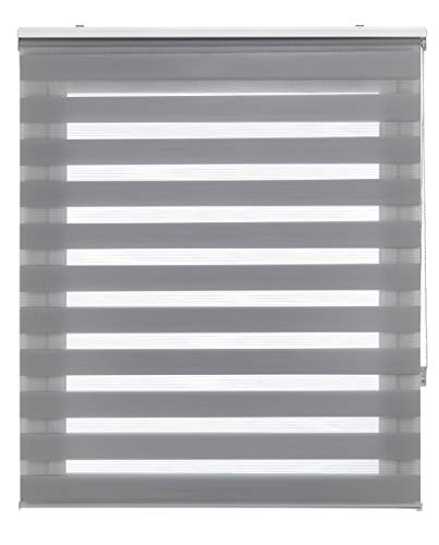 Blindecor LIRA - Estor enrollable de doble capa Noche y Día, Gris Plata, 150 x 180 cm