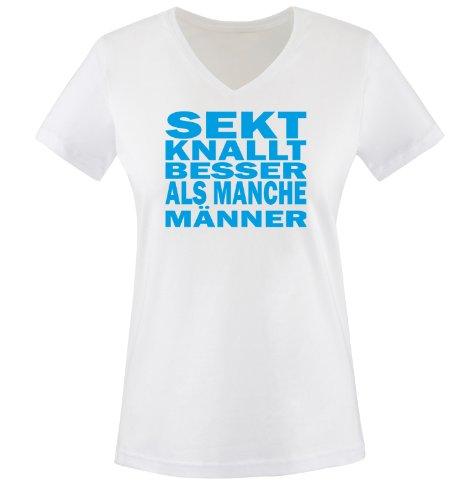 Sekt knallt Besser als Männer - Einfarbig - Damen V-Neck T-Shirt - Weiss/Blau Gr. XL