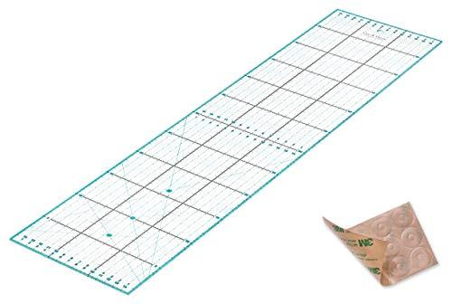Patchwork Lineal 60x15cm mit gratis Anti Rutsch Aufklebern. Transparentes Universal Lineal mit cm und Winkel-Maßen