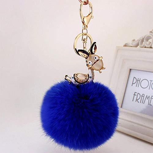 Girl Key Chain, Cute Blue Fur Ball Creative Avatar Little Donkey Rabbit Key Ring Jewelry Pendant, Fashion Accessory Couple Friend Lover Girl Festival Gift