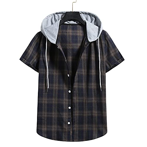 Capucha T-Shirt Hombre A Cuadros Verano Hombre Manga Corta Deportiva Informal Transpirable Hombre Camisas Ocio Vacaciones En La Playa Camisa Hawaii Camisa Hombre