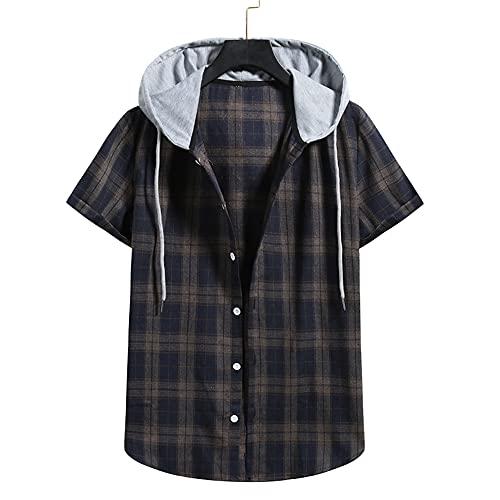 Camisa Hombre Camisa con Capucha Camisa Holgada Y Cómoda con Cordón Camisa De Verano con Botones A Cuadros De Manga Corta Camisa Hawaii Camisas Juveniles De Estilo Universitario F-006 XL