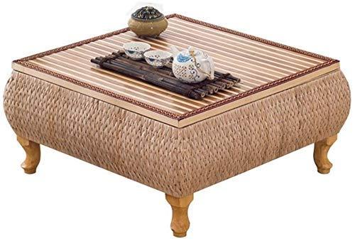 Mesa de centro de madera Rattan Grass Tatami Mesa de centro de madera Mesa de ventana Mesa de piso Mesa de sala de estar tejida a mano Protección del medio ambiente (Color Marrón Tamaño 40 * 60 * 30