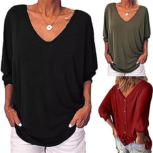 Sommer-T-Shirt für Damen, V-Ausschnitt, sexy, einfarbig, 3/4-Ärmel, Tunika, T-Shirts, modisch, lässig, lockere Passform, bequem, weich, Basic Bluse, Weich, A01#schwarz