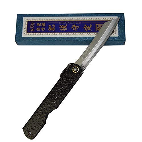 Couteau de Poche Pliant Artisanal Japonais Higonokami Warikomi Splash Black Fait Main au Japon par Nagao Kanekoma