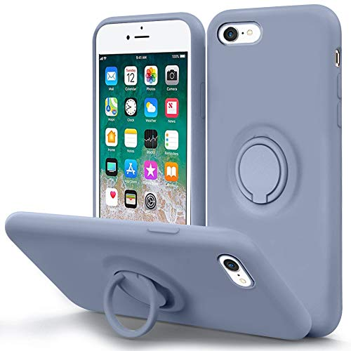 MOCCA for iPhone SE 2020 Case, iPhone 8 case, iPhone 7 Silicone Case with Kickstand | Anti-Scratch | Soft Microfiber Lining Full-Body Shockproof Protective Case for iPhone 7/8/SE 2nd - Lavender Grey