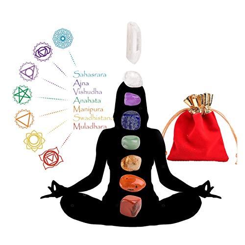 WSJKL Runyangshi 7pc Natural Irregular Chakela Stone Set 7 Colores Yoga Energía Arte Piedra para Decoración del Hogar Regalo De Cumpleaños De Cumpleaños (Color : Light Grey)