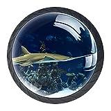 Pomos de cajón para acuario, pequeño tiburón, tiradores de cajón con mango de cristal redondo, 4 unidades