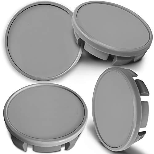 4 x 65mm Tapas de Rueda de Centro Centrales Llantas Aluminio Compatibles con Tapacubos VW Número de Pieza 3B7601171 / 6U7601171 Plata Gris UK CVS 0