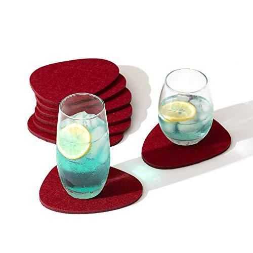 chillify Juego de 8 posavasos de fieltro para bebidas, diseño de piedras, antideslizantes, resistentes al calor y lavables, para tazas, jardín, cerveza, mesa, café, etc.