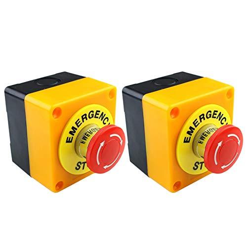 ACAMPTAR 2 Piezas de Hongo Rojo Parada de Emergencia Apagado Interruptor de BotóN No + Nc 22Mm Cnc Gecko