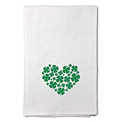A white kitchen towel with shamrocks.