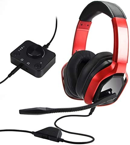Amazon Basics Premium Gaming Headset for PC and Consoles Xbox PS4 with Desktop Mixer Red product image