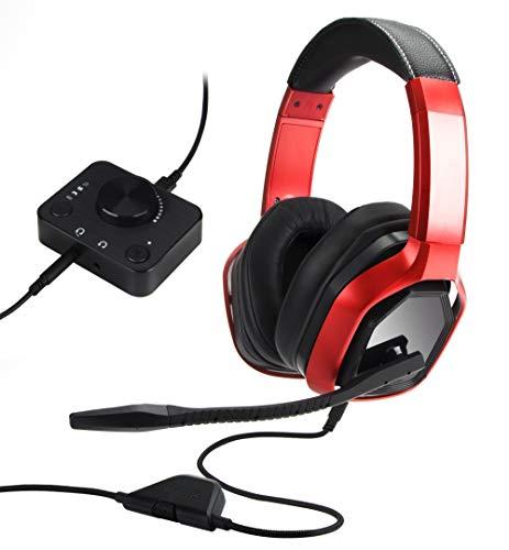 Amazon Basics - Auriculares con diadema para jugar de primera calidad, para ordenador y consolas (Xbox, PS4) con mezclador de sobremesa, rojo
