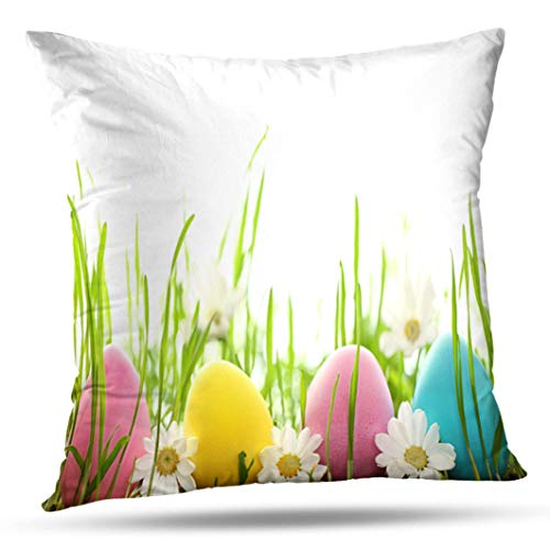 Alricc Easter Eggs with Daisy Flower Fresh Green Grass Egg Spring Decorative Throw Pillows Cushion Cover for Bedroom Sofa Living Room 16X16 Inches