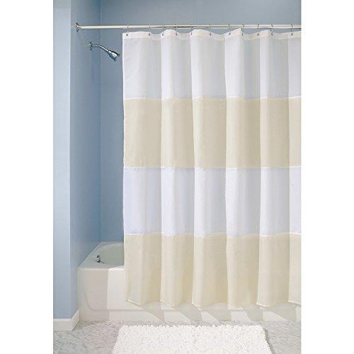 iDesign Zeno Duschvorhang Textil | wasserdichter Duschvorhang mit Streifen | waschbarer Duschvorhang in der Größe 183,0 cm x 183,0 cm | Polyester sandfarben/weiß