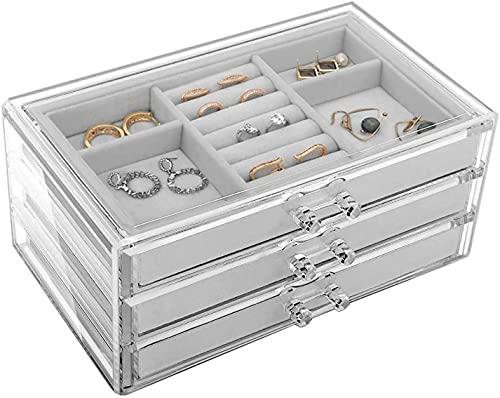 Práctico organizador de joyas con 3 cajones de terciopelo organizador de joyas para anillos, pendientes, collares, pulsera y organizador de joyas acrílico transparente