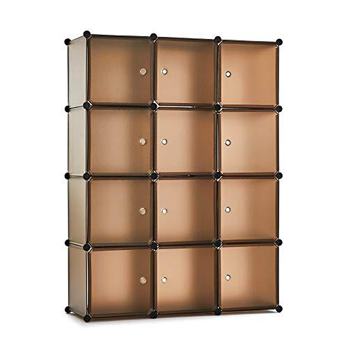 Meerveil Kunststoff Kleiderschrank Garderobenschrank Steckregal DIY Modular Schrank Regalsystem mit 2 Kleiderstange, für Kleidung Schuhe Spielzeug und Bücher (kaffeebraun, 12 Kubus)
