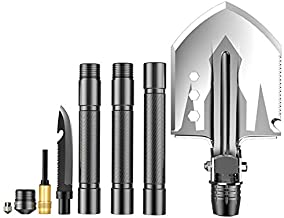 Black Tea Military Folding Shovel Portable Multi-Tool Tactical Entrenching Tool, Outdoor Shovel for Camping Hiking Outdoor