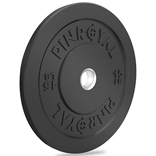 PINROYAL Bumper Plate 10LB, Olympic Weight Plate with 2 inch Stainless Steel Hub, Rubber Barbell Weights to Protect Floor, Smooth Strength Training Plate to Protect Bar from Scratches, Single