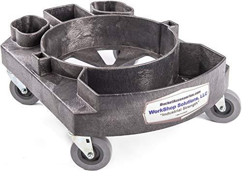 "Workshop Solutions, LLC Professional 5 Gallon Detailing Bucket Dolly with 3"" Wheels - car wash Caddy"