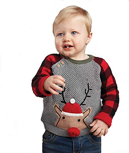 Mud Pie Buffalo Reindeer Sweater (24 Months/2 Toddler - 3 Toddler) Grey