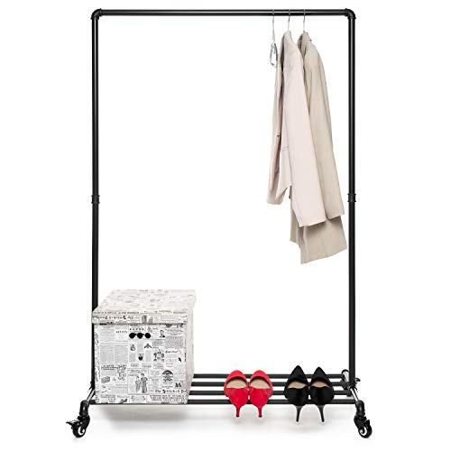 Home Treats Heavy Duty Clothes Rail On Wheels & Shoe Rack, Portable Black Metal Garment Rail Ideal For Bedroom Clothing Storage