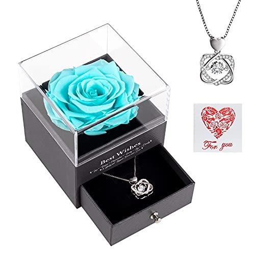 AirCover Preserved Real Rose with Heart Necklace and Card. Forever Rose Gifts for Mom/Women/Girlfriend/Wife/Her/Best Friend/Valentine's Day/Birthday/Anniversary/Thanksgiving/Christmas (Tiffany Blue)