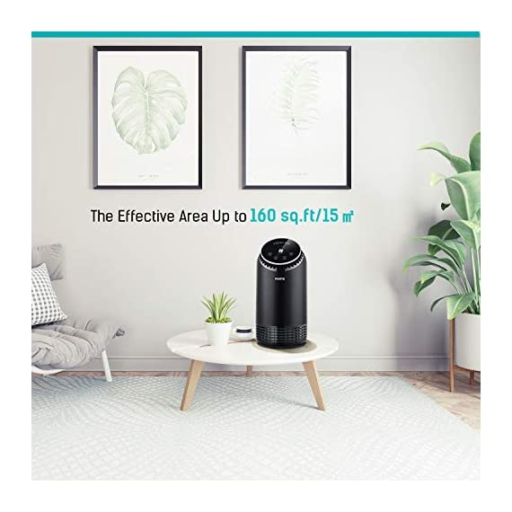 """PARTU HEPA Air Purifier for Home Up to 160ft²- Smoke Air Purifier with 7 Colors Nightlight, Efficient Clear Up Smoke… 6 🍃Efficient Three-Stage Filtration System🍃 PARTU Air Purifier features a three-stage filtration system. This comprises a pre-filter, a HEPA filter and an activated carbon filter, powerful enough to clear up pollen, smoke, odor, pet dander, filters particles as small as 0.3 microns and air pollution of PM 2.5. Anion neutralize pollutants such as dust in the air. 🍃Alternative Iridescent Night Light🍃 The alternative lights are very mood enhancing. It can act as night lights if you have you air purifier on at night. And you can choose and keep one color you like most. If no need the light, just press light button for 3 seconds to turn off. 🍃Ultra-Silent 3 Fan Speeds Setting🍃Partu air purifier with true hepa filter Noise Level-25-48dB, even on the highest setting, the """"noise"""" can be qualified as static background noise, will not distrub you during work, study and sleep. 3 different levels fan speeds can be selected according to the actual air quality and space for energy saving."""