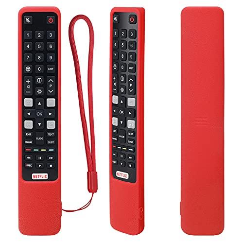Funda Protectora de Silicona con Control Remoto para RCA TCL Smart TV RC802N 43P20US 43S6000FS 55X2US 65P20US 65X2US 65X4US 49C2US 50P20US 55C2US 60P20US 65C2US 65P20US U49P6006 U55C7006 (Rojo)