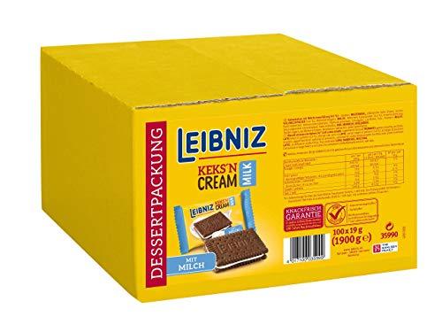 LEIBNIZ Keks'n Cream Milk - Doppelkekse - 100 einzeln verpackte Dessertpackungen im Catering-Karton - Kakaokekse mit Milchcreme Füllung (100 x 19 g)