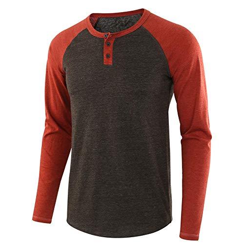 Men's Longsleeve Button Front Round Neck T Shirt with Grandad Neck Breathable Henley Patchwork Shirt Lightweight Men Basic Casual Fashion Shirt Autumn Winter New Tops M