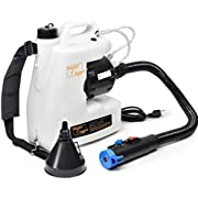 Fogger Machine Disinfectant Fogger Atomizer Bleach Spray Mist Duster ULV Sprayer 3GAL 1-15GPH Mist Blower Adjustable Particle Size 0-50μm/Mm with Extended Commercial Hose & Spray Nozzle (White)