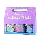 Candy Club, Birthday Treats Candies Gift Pack, 3 Jars Set - Cupcake Bites, Blue Razz Sour Belts, Rainbow Non Pareils