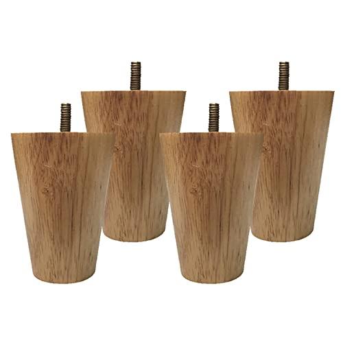 HIYU Patas niveladoras de sofá para Bricolaje, Patas de Soporte cilíndricas para gabinete x4, pies de Repuesto para Muebles con Tornillos y Almohadillas Antideslizantes, Accesorios para Muebles