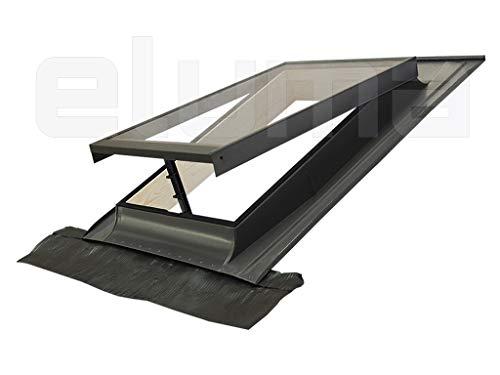 Claraboya - Ventana para tejado'BASIC VASISTAS' Made in italy/Tragaluz por el acceso al techo/Tapajuntas incluido (48x72 Base x Altura)