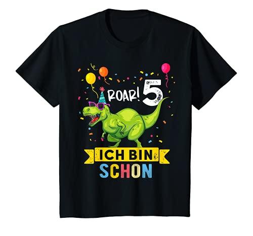 Kinder 5 Jahre Geburtstag Dinosaurier Jungen Mädchen Dino T-Shirt