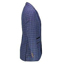 Xposed Mens Retro Tweed Check Blazer Vintage Smart Tailored Fit Suit Jacket in Brown Blue[BLZ-Juan,Navy Blue,38] #2