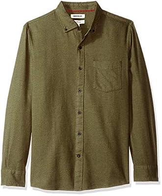 Goodthreads Men's Slim-Fit Long-Sleeve Plaid Brushed Heather Shirt, Olive, Medium