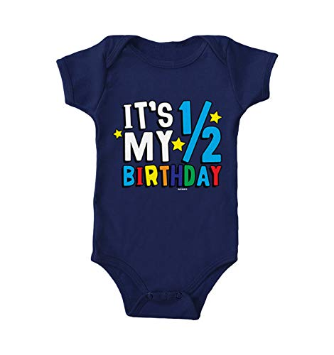 Haase Unlimited Its My 1/2 Birthday - Half 6 Months Old Bodysuit (Navy Blue, 12 Months)