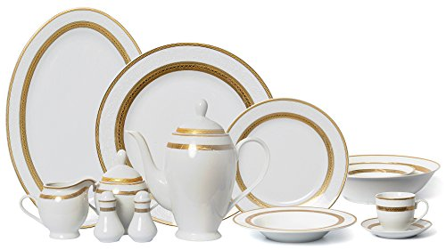 Euro Porcelain 57-pc Banquet Dinnerware Set, Luxury Tableware Dining...