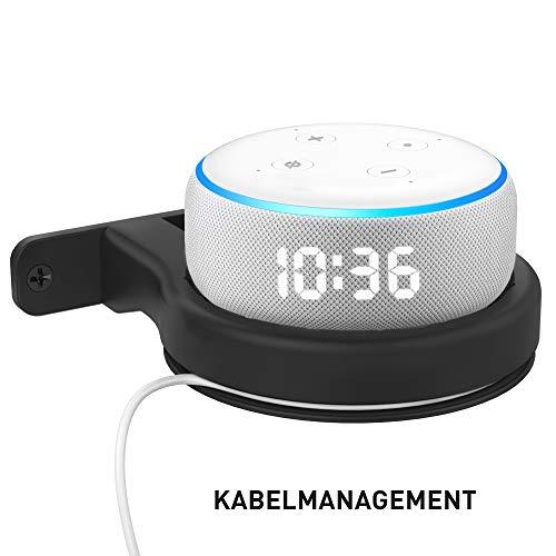 Delidigi Wandhalterung für Dot ABS Halterung Dot Ständer Regal für Echo Dot (3rd Gen) mit Kabelmanagement Platzsparende Zubehör für Dot 3nd Generation (Schwarz)