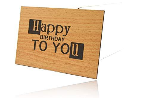 Holzgrußkarte 3D Tiefenrelief Holzkarte Happy Birthday To You - 100% Made in Germany - Postkarte · Karte · Grußkarte · Geschenkkarte · Einladung · Für Geburtstag Glückwünsche Geschenke