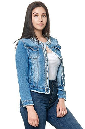 EGOMAXX Damen helle Jeansjacke Perlen Glitzer Übergangsjacke, Farben:Blau, Größe:L