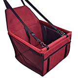 SPRAOI Protector Car Seat Pet Dog Booster Seat Car Seat Clip-On Safety Leash and Zipper Storage Pocket
