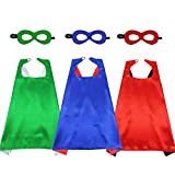 D.Q.Z Kids Superhero-Capes and Masks for Boys Girls, Super Hero Dress Up Costume as Birthday Party Gifts, 3 Pack